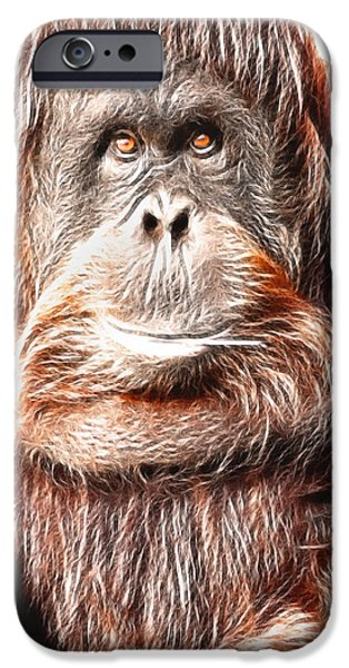 Orangutan Digital Art iPhone Cases - Artistic Orangutan iPhone Case by Don Johnson