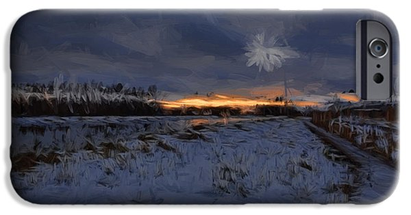 Reflection Of Sun In Clouds iPhone Cases - Artistic painterly 1  Early morning January 2015 iPhone Case by Leif Sohlman