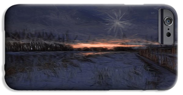 Snowy Night iPhone Cases - Artistic Painterly 2 Early Morning January 2015 iPhone Case by Leif Sohlman