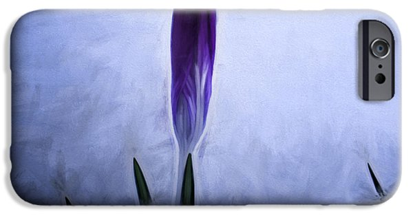 Paiting iPhone Cases - Artistic painterly Crocus in snow iPhone Case by Leif Sohlman