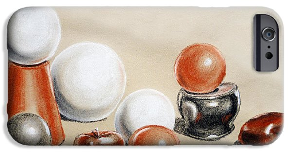 Still Drawings iPhone Cases - Artistic Playground Apples and Balls Show iPhone Case by Irina Sztukowski
