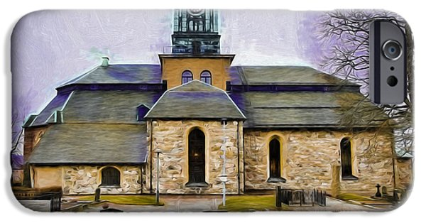 Paiting iPhone Cases - Artistic presentation of #Varfukyrkan enkoping viewed from north iPhone Case by Leif Sohlman