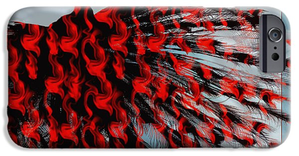 Cut-outs Mixed Media iPhone Cases - Artistic Red Peacock iPhone Case by Yvon van der Wijk