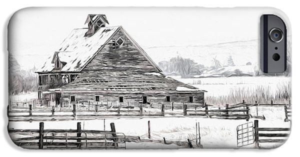 Old Barn Photo Photographs iPhone Cases - Artistic Winter Barn iPhone Case by Mary Jo Allen