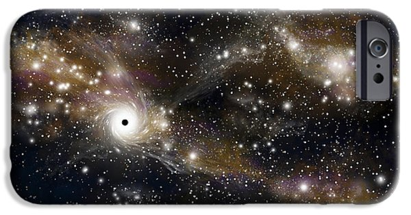 Jet Star iPhone Cases - Artists Concept Of A Black Hole iPhone Case by Marc Ward