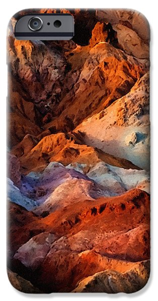 Painter Print Photographs iPhone Cases - Artists Palette2 Death Valley National Park iPhone Case by  Bob and Nadine Johnston