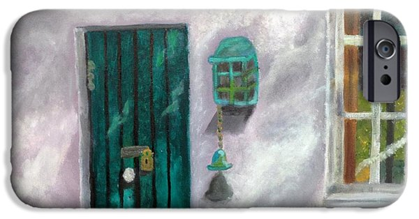 Cabin Window Paintings iPhone Cases - Artists Studio in the Meadow iPhone Case by Margaret Harmon