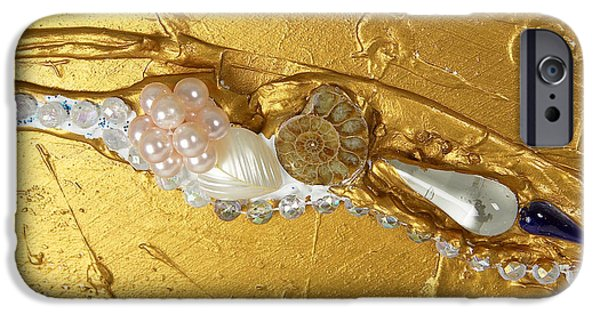 Disc Reliefs iPhone Cases - Artscape No. 3 The golden flow of peace iPhone Case by Heidi Sieber