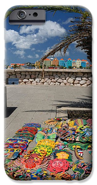 Artwork at Street Market in Curacao iPhone Case by Amy Cicconi
