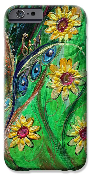 Flower Of Life Paintings iPhone Cases - Artwork Fragment 61 iPhone Case by Elena Kotliarker