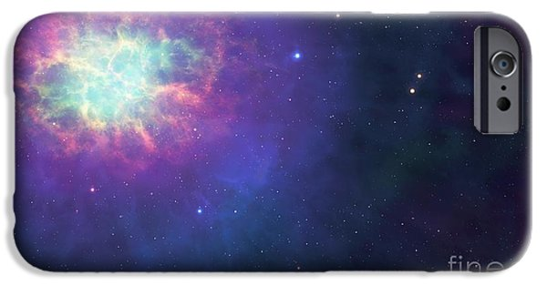 Neutron iPhone Cases - Artwork Of A Supernova Remnant. iPhone Case by Mark Garlick