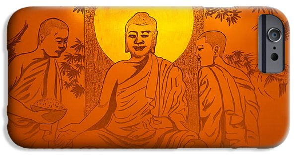 Buddha Art iPhone Cases - Artwork of Buddha with halo iPhone Case by Oleksiy Maksymenko