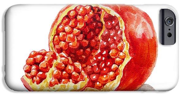 Pomegranate iPhone Cases - ArtZ Vitamins A Pomegranate  iPhone Case by Irina Sztukowski