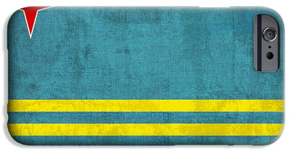 Nation iPhone Cases - Aruba Flag Vintage Distressed Finish iPhone Case by Design Turnpike