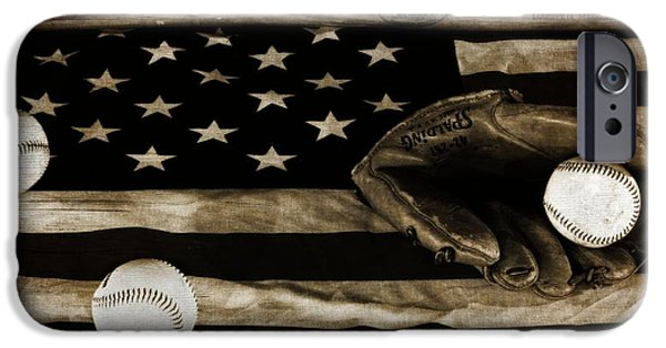 Baseball Glove iPhone Cases - As American As Apple Pie iPhone Case by Dan Sproul