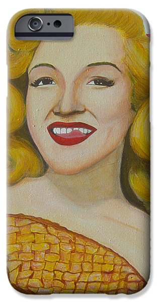 4th July Paintings iPhone Cases - As American As Apple Pie Marilyn Monroe iPhone Case by Michael Diggs