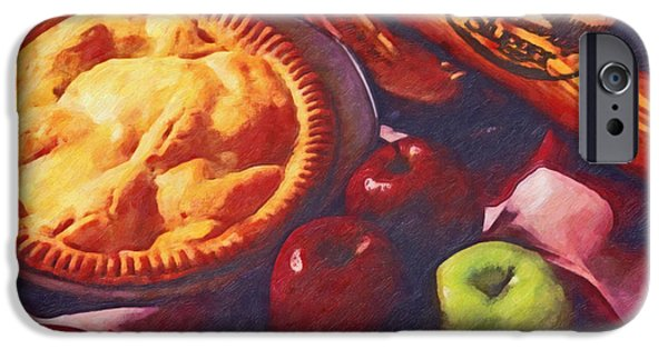 Baseball Glove iPhone Cases - As American as Baseball and Apple Pie iPhone Case by Lianne Schneider