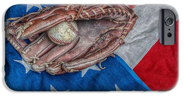 Baseball Glove iPhone Cases - As American as Baseball iPhone Case by Randy Steele