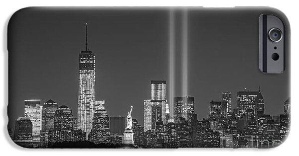 Twin Towers Nyc iPhone Cases - As She Watches Over Us BW iPhone Case by Michael Ver Sprill