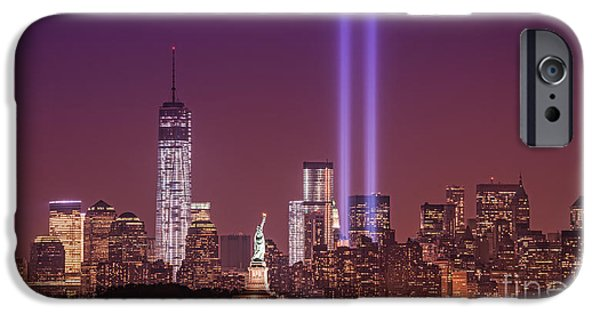 Twin Towers Nyc iPhone Cases - As She Watches Over Us iPhone Case by Michael Ver Sprill