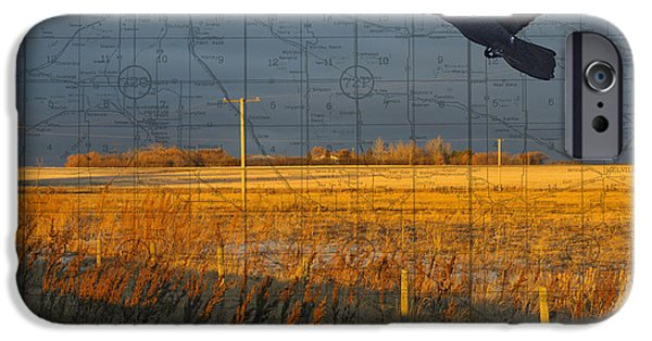 Judy Wood Digital Art iPhone Cases - As the Crow Flies-fall fields iPhone Case by Judy Wood