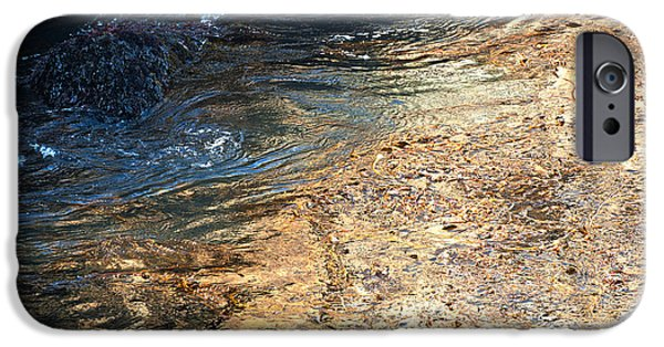 Famous Highway 1 In California iPhone Cases - As the Ocean Wave Swirled it Looked Like Gold iPhone Case by Artist and Photographer Laura Wrede