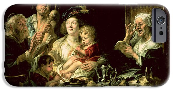 Flute iPhone Cases - As The Old Sing, So The Young Pipe, 1638 Oil On Canvas iPhone Case by Jacob Jordaens