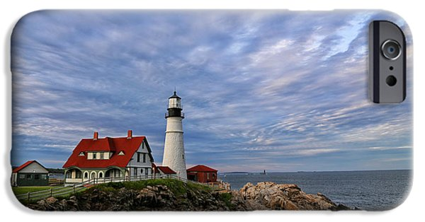 New England Lighthouse iPhone Cases - As The Sky Reaches The Water iPhone Case by Karol  Livote