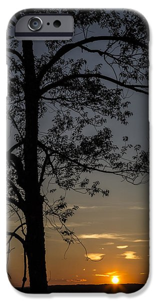 The Sun God iPhone Cases - As The Sun Fades Behind The Mountian iPhone Case by Karol  Livote
