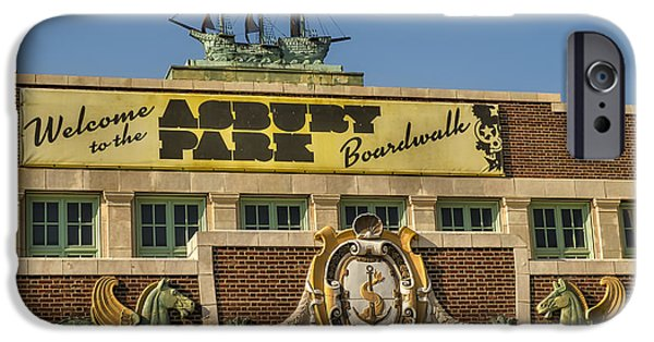 Signs iPhone Cases - Asbury Park Boardwalk iPhone Case by Susan Candelario