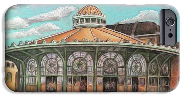 Carousel Horse Paintings iPhone Cases - Asbury Park Carousel House iPhone Case by Melinda Saminski