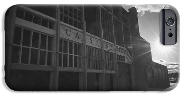 Asbury Park Casino iPhone Cases - Asbury Park NJ Casino Black and White iPhone Case by Terry DeLuco