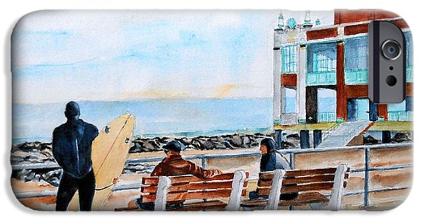 Asbury Park Paintings iPhone Cases - Asbury Park Surfers iPhone Case by Brian Degnon