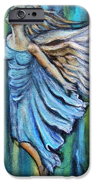 Spiritual Portrait Of Woman iPhone Cases - Ascending Angel iPhone Case by The Art With A Heart By Charlotte Phillips