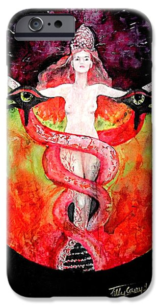 Horus Paintings iPhone Cases - Ascension of Lilith  iPhone Case by Ti Campbell-Allen