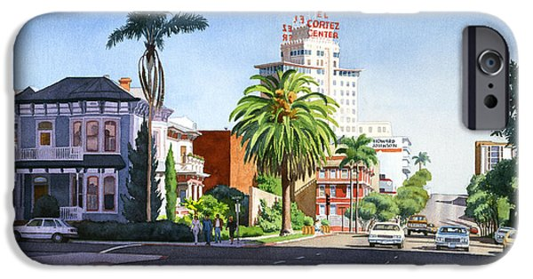 City Scene iPhone Cases - Ash and Second Avenue in San Diego iPhone Case by Mary Helmreich