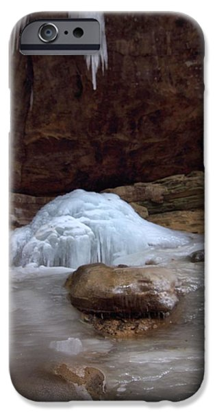 Water In Caves iPhone Cases - Ash Cave Frozen Over iPhone Case by Dan Sproul