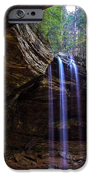 Overhang iPhone Cases - Ash Cave Waterfall iPhone Case by Ron Grafe