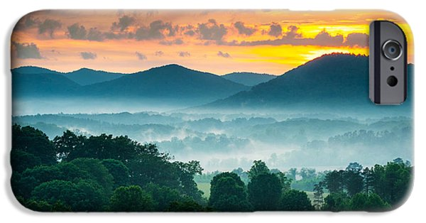 Blue Ridge Parkway iPhone Cases - Asheville NC Blue Ridge Mountains Sunset - Welcome to Asheville iPhone Case by Dave Allen
