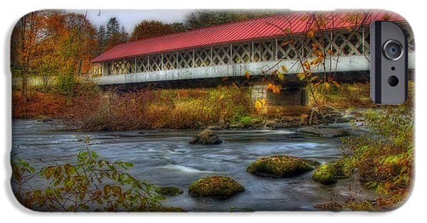 Old North Bridge iPhone Cases - Ashuelot Covered Bridge 2 iPhone Case by Joann Vitali
