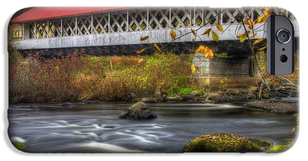 Old North Bridge iPhone Cases - Ashuelot Covered Bridge 3 iPhone Case by Joann Vitali