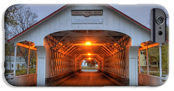 Old North Bridge iPhone Cases - Ashuelot Covered Bridge iPhone Case by Joann Vitali