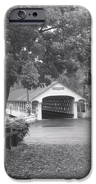Covered Bridge iPhone Cases - Ashuelot Covered Bridge New Hampshire black and white iPhone Case by John Burk