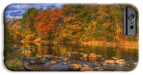 New Hampshire Fall Scenes iPhone Cases - Ashuelot River in Autumn - New Hampshire iPhone Case by Joann Vitali