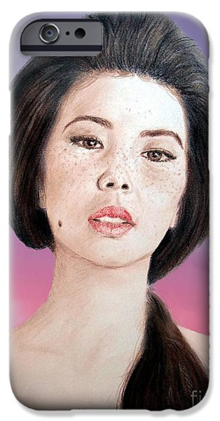 Beauty Mark iPhone Cases - Asian Beauty Fade to Black Version iPhone Case by Jim Fitzpatrick
