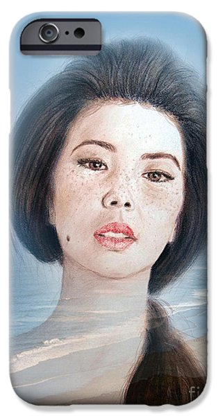 Beauty Mark iPhone Cases - Asian Beauty Fade to Ocean Photograph iPhone Case by Jim Fitzpatrick