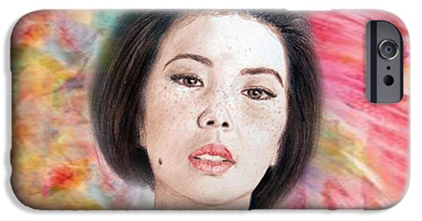 Beauty Mark Digital iPhone Cases - Asian Beauty III iPhone Case by Jim Fitzpatrick
