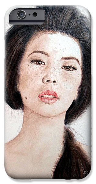 Beauty Mark Mixed Media iPhone Cases - Asian Beauty iPhone Case by Jim Fitzpatrick