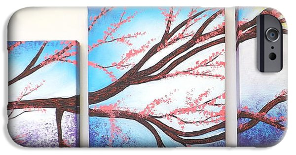Multimedia Mixed Media iPhone Cases - Asian Bloom Triptych iPhone Case by Darren Robinson