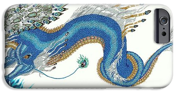 Recently Sold -  - Serpent iPhone Cases - Asian Blue Lung iPhone Case by Jennifer  Anne Esposito